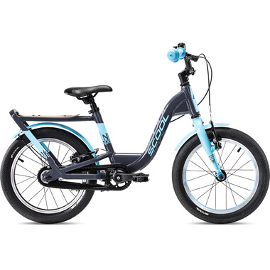 "Vélo Enfant S'COOL NIXE EVO Roue Libre 16"" Gris/Bleu 2020"